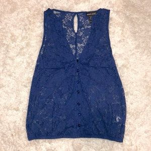 Wet Seal Button Down Lace Tank Top Blue Small